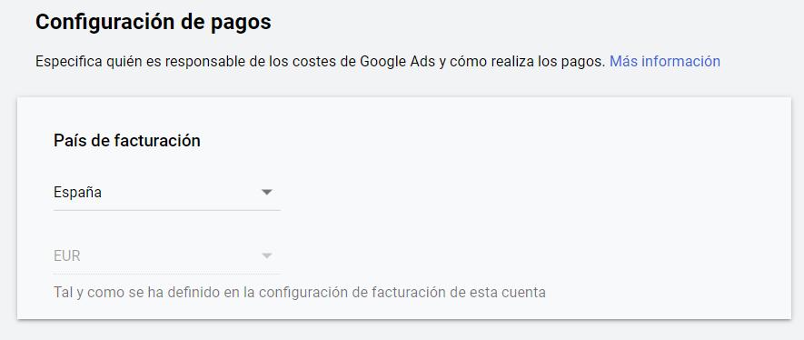 Facturacion Google Ads - País de facturación
