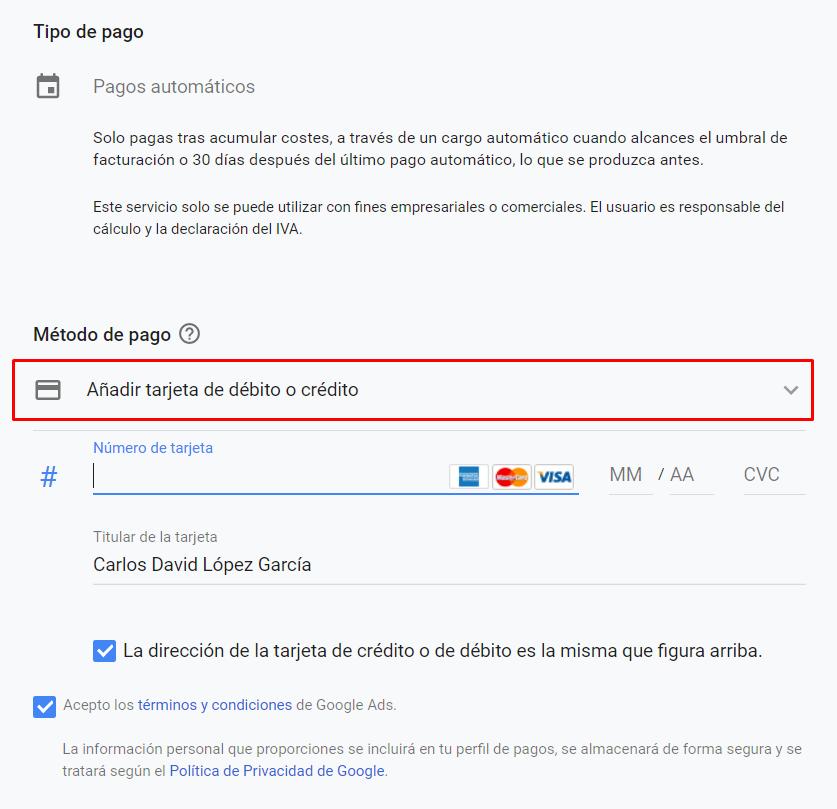 Facturacion Google Ads - Metodo de pago