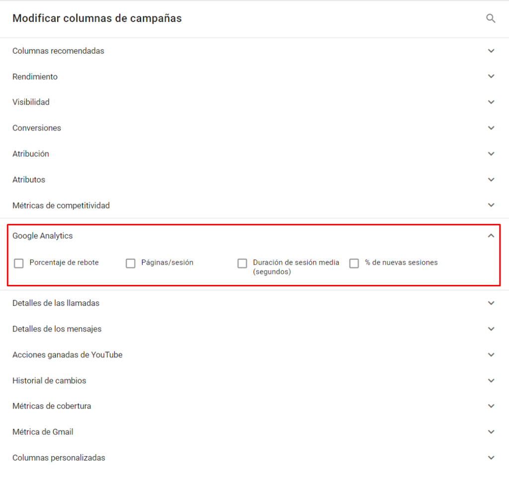 Datos Google Analytics en Google Ads
