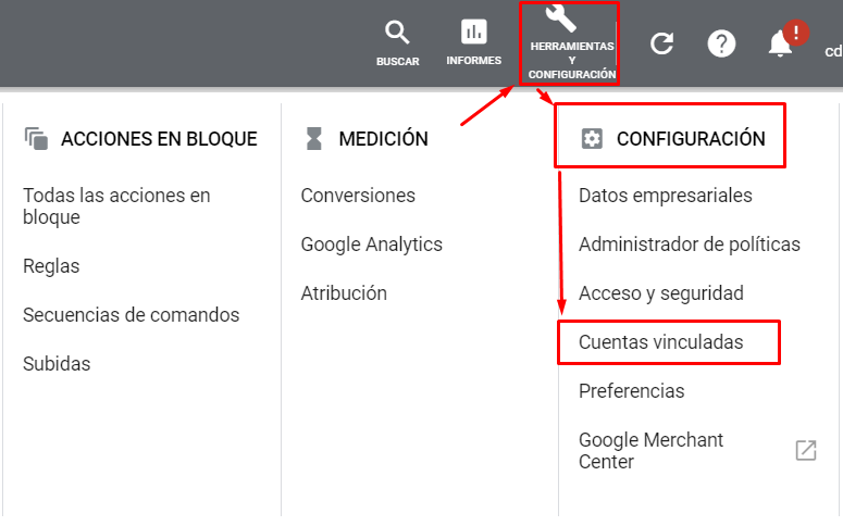 Vincular Google Ads con Google Analytics - Interfaz Google Ads