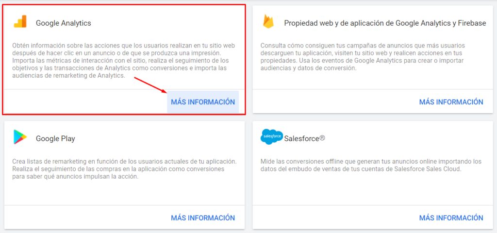 Vincular Google Ads con Google Analytics - Seleccionar producto