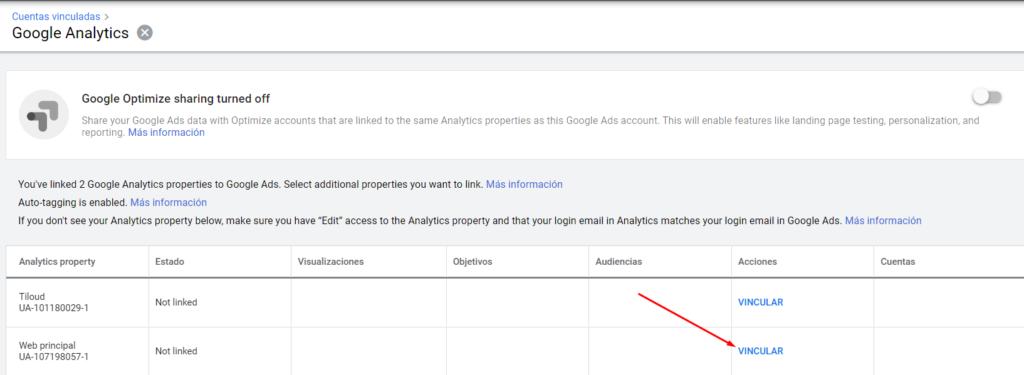 Vincular Google Ads con Google Analytics - Propiedades