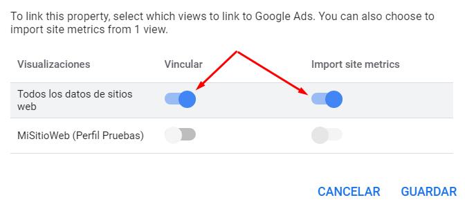 Vincular Google Ads con Google Analytics - Importacion de metricas