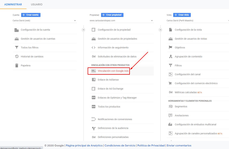 Vincular Google Ads con Google Analytics - Vinculación con Google Ads