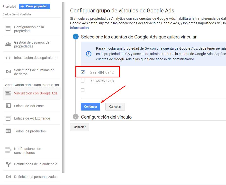 Vincular Google Ads con Google Analytics - Seleccionar cuenta
