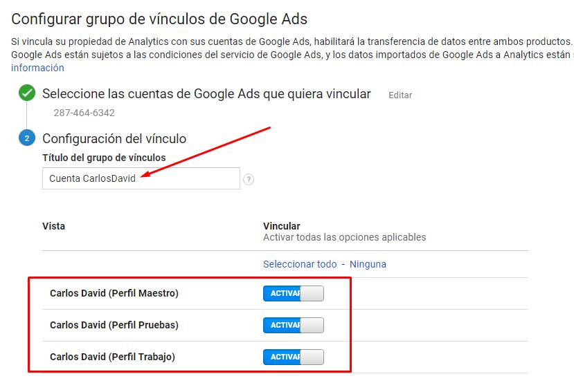 Vincular Google Ads con Google Analytics - Seleccionar vista Google Analtyics