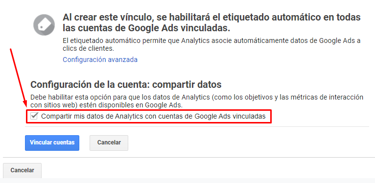 Vincular Google Ads con Google Analytics - Compartir datos