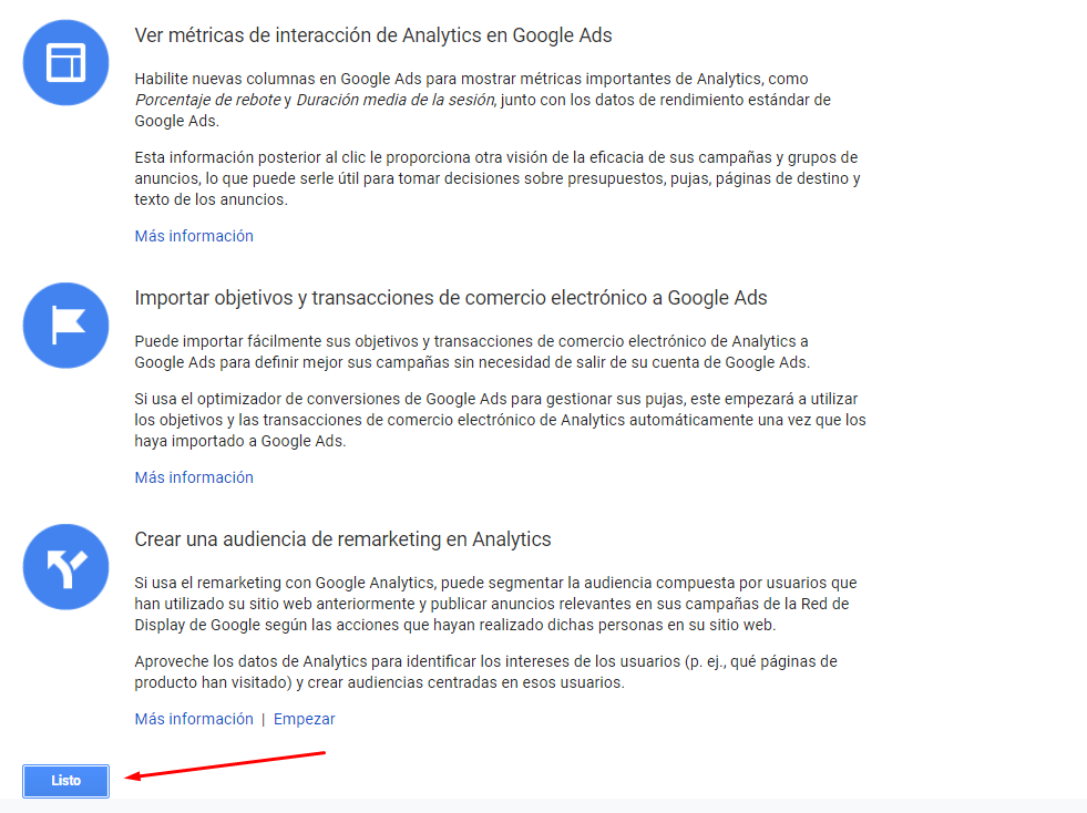Vincular Google Ads con Google Analytics - Enlace Google Analytics