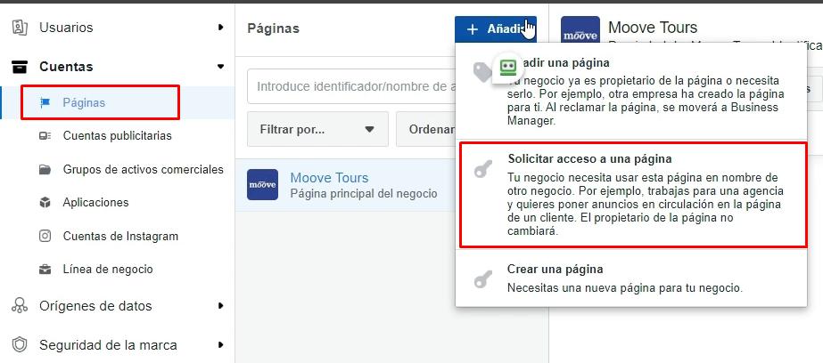 Solicitar acceso a una página de Facebook