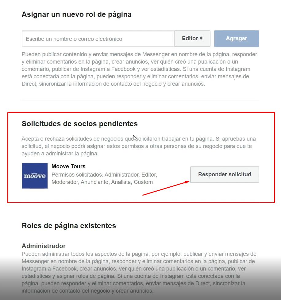 Aceptar solicitud de acceso a pagina Facebook