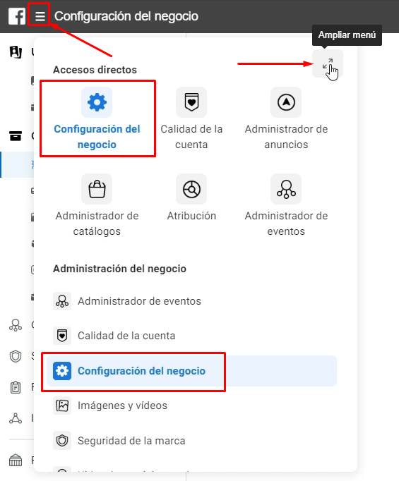 Configuracion del negocio Facebook Business Manager