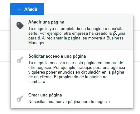 Añadir página Facebook a Business Manager