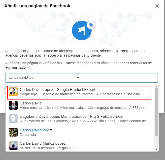 Buscar página de Facebook en Business Manager
