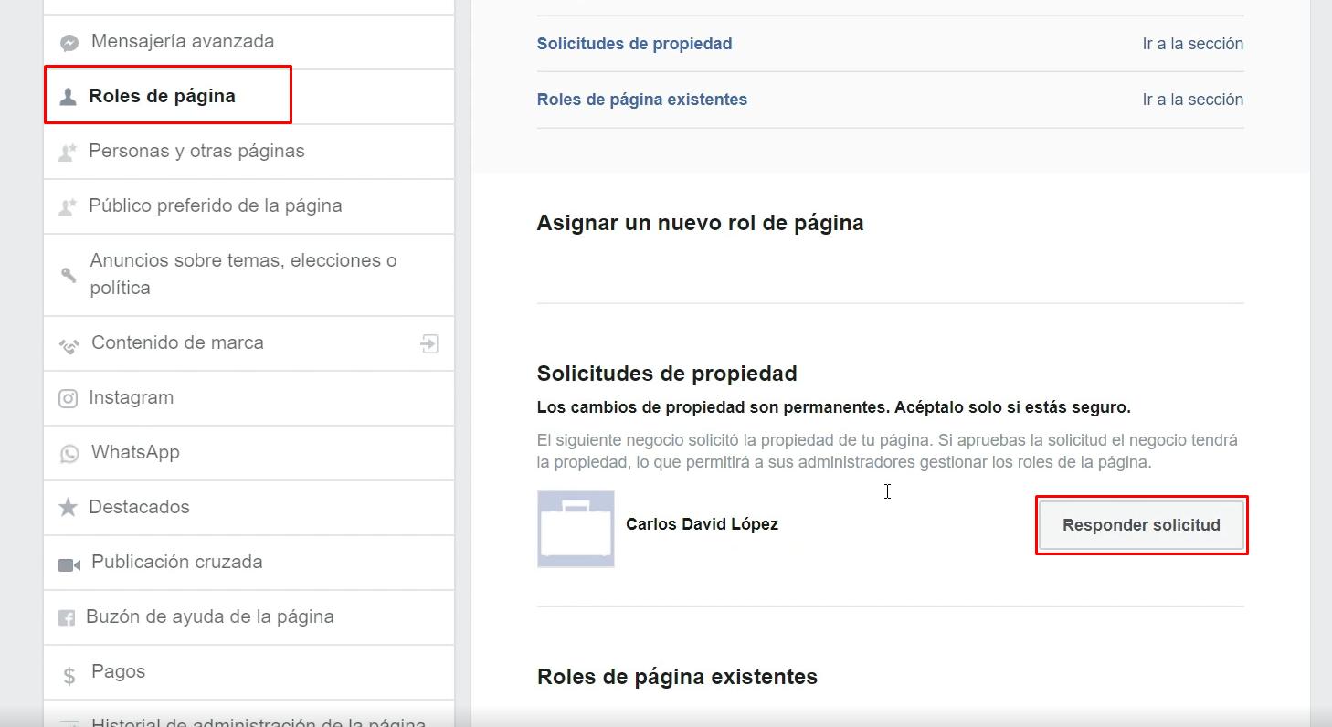 Roles de pagina Facebook responder solicitud