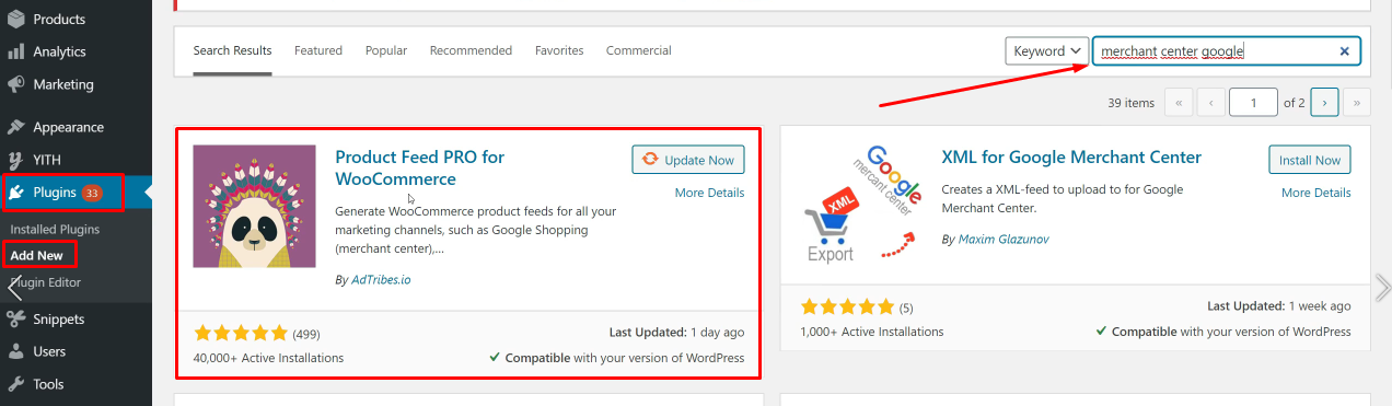 Añadir módulo WooCommerce Google Shopping