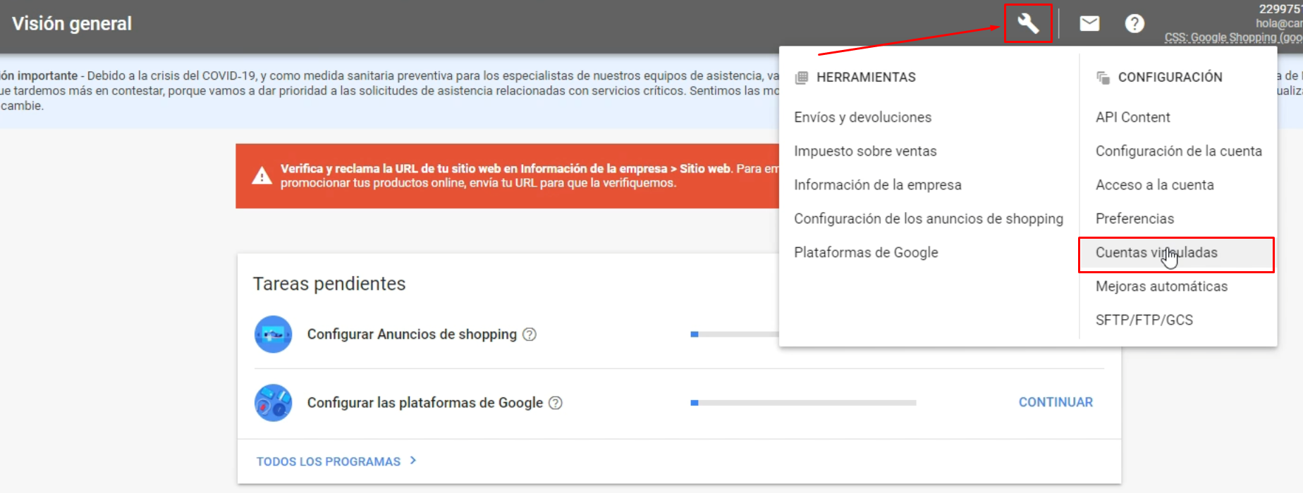 Cuentas vinculadas Google Merchant Center