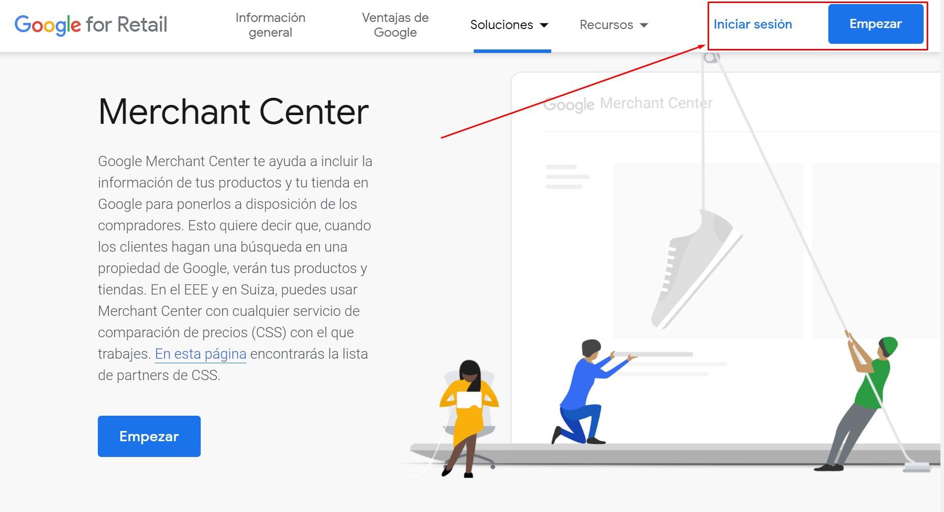 Iniciar sesion en Google Merchant Center