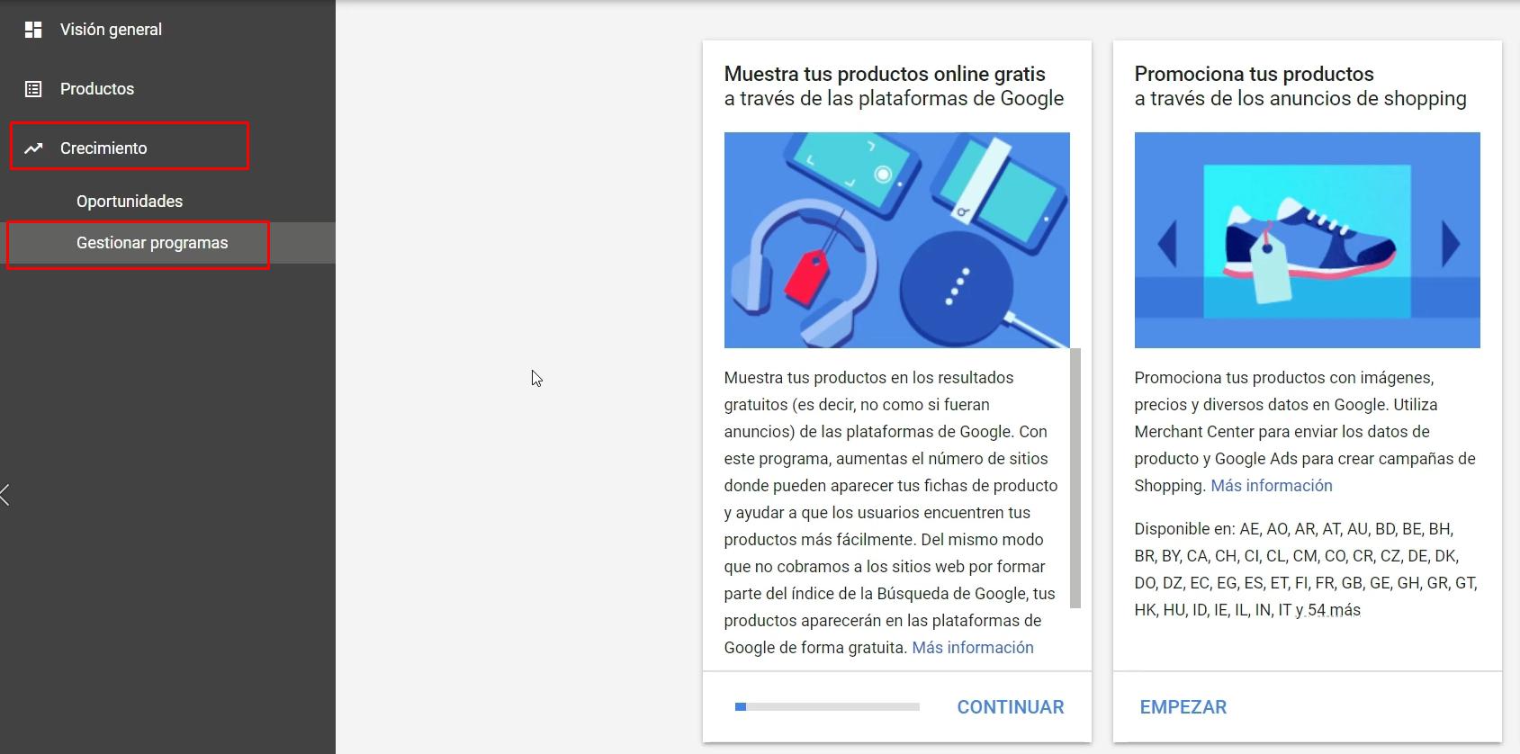 Gestionar programas Google Merchant Center