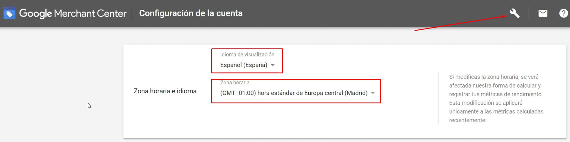 Interfaz Google Merchant Center en español