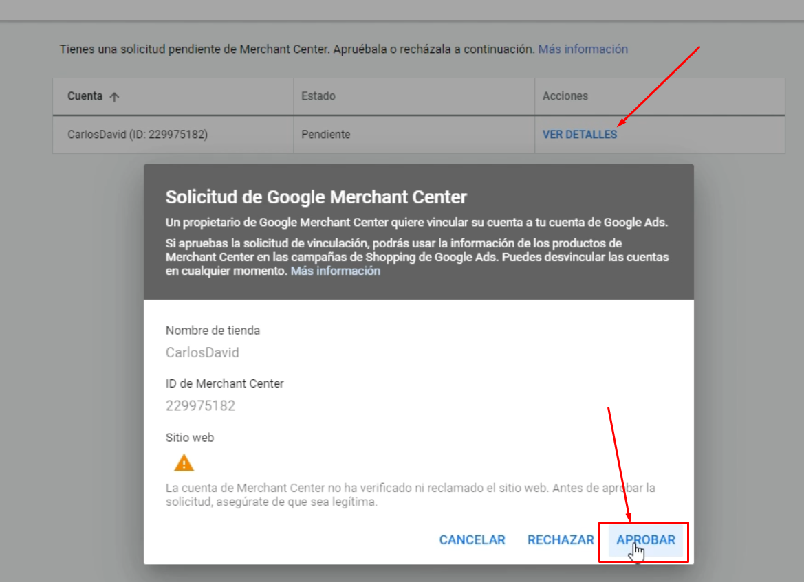 Aprobar solicitud Google Merchant Center