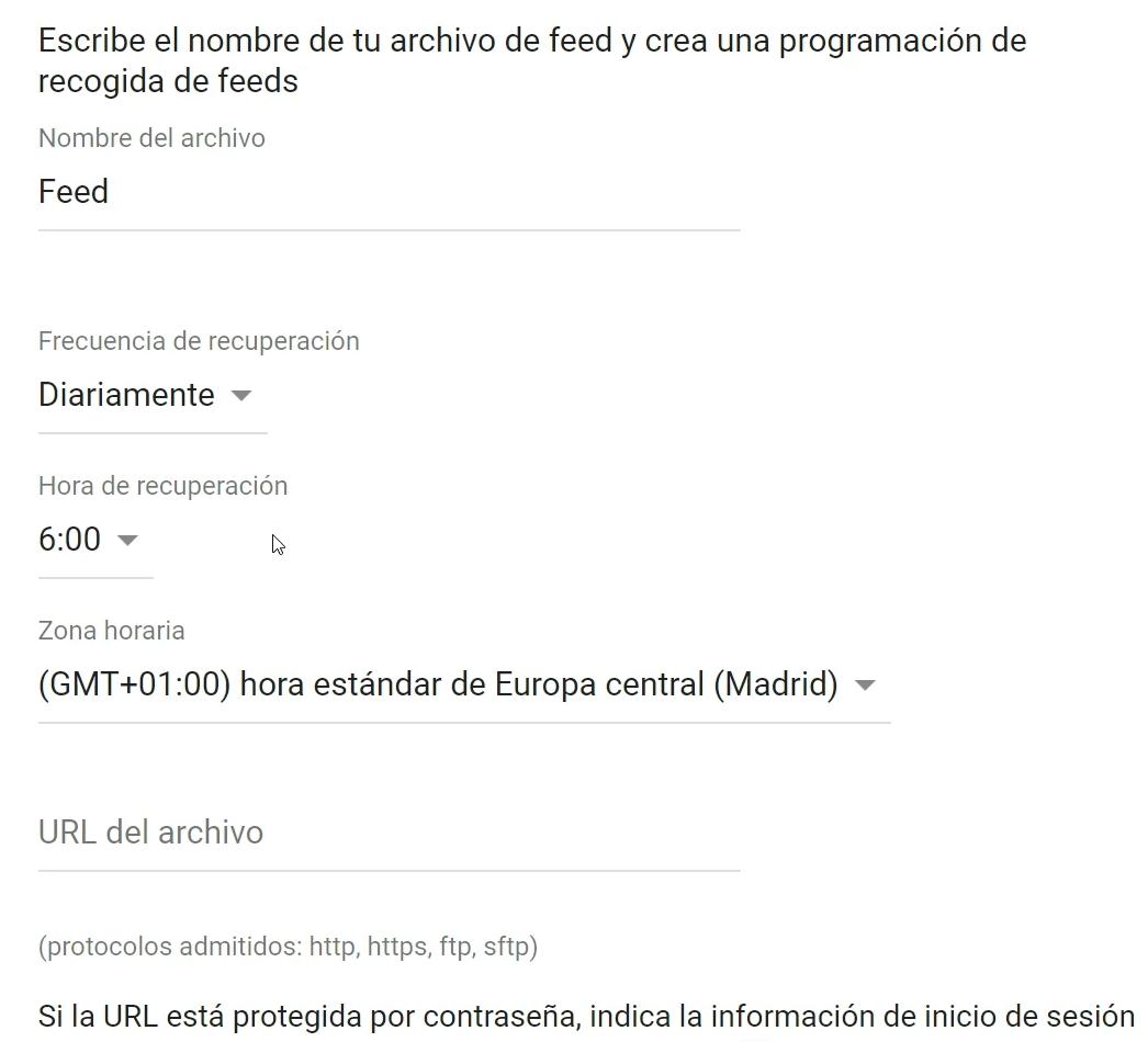 Programación del feed Merchant Center