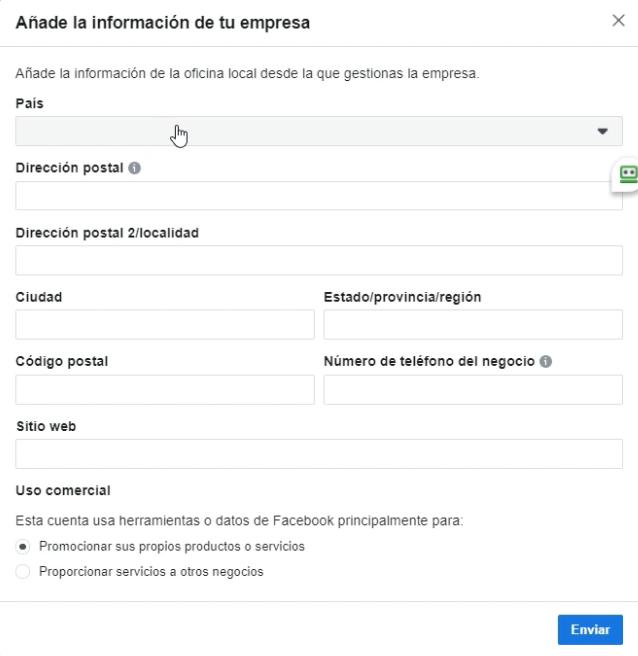 Introducir datos del negocio Business Manager Facebook