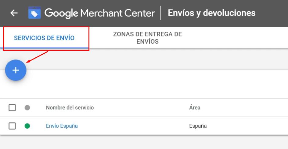 Configurar envios Merchant Center
