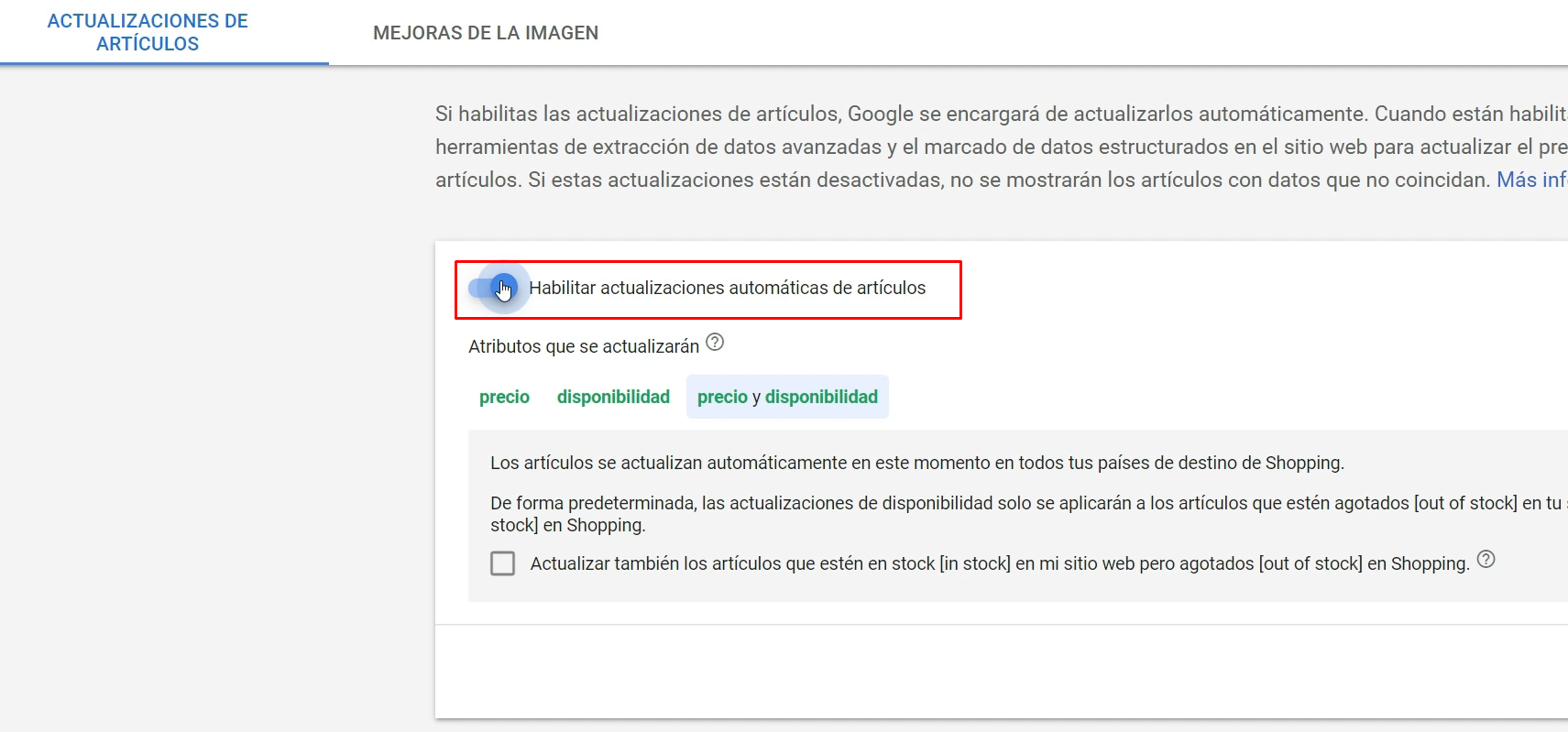 Actualizaciones automaticas Google Merchant Center