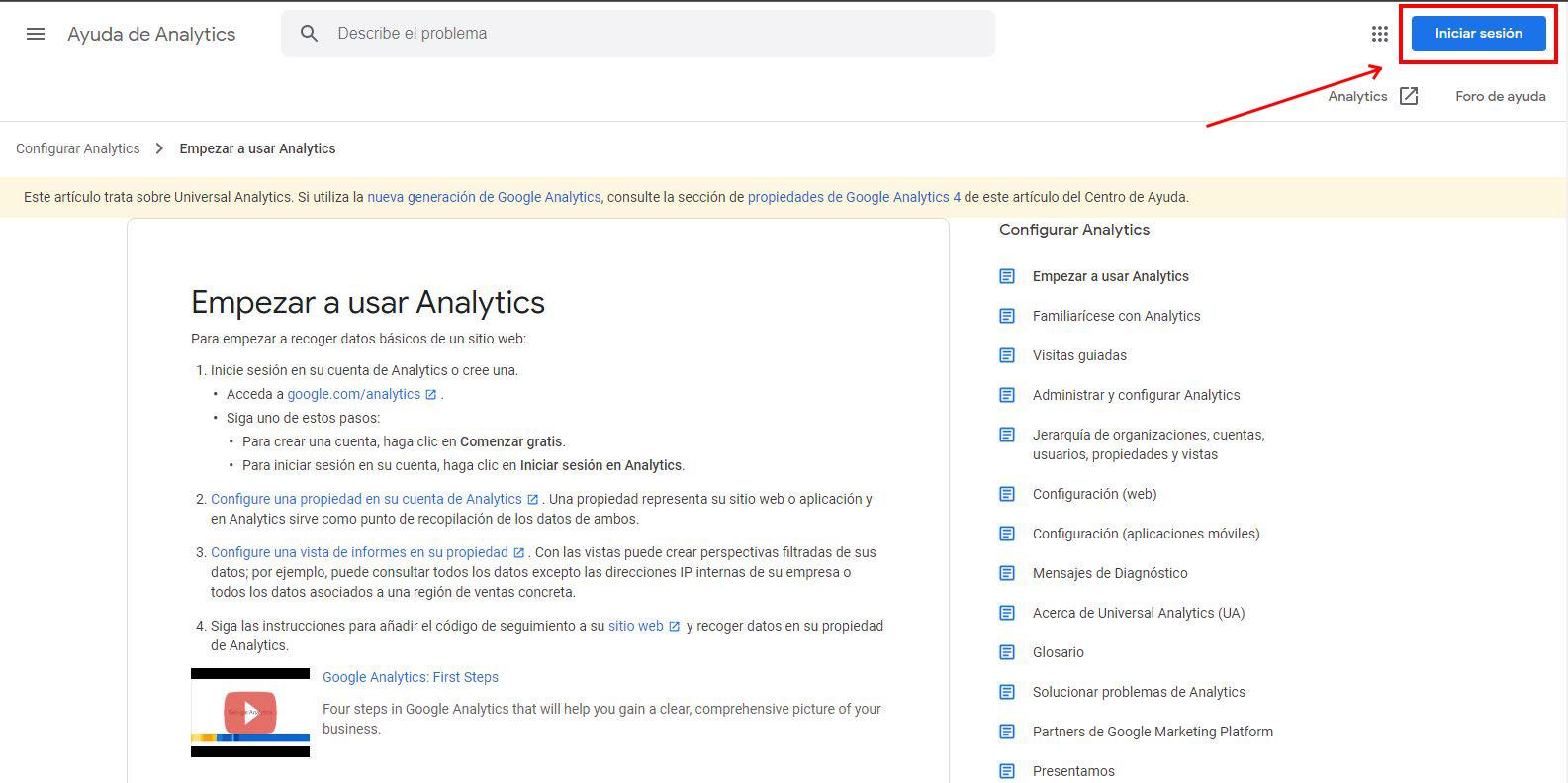 Inicio de sesión Google Analytics 4