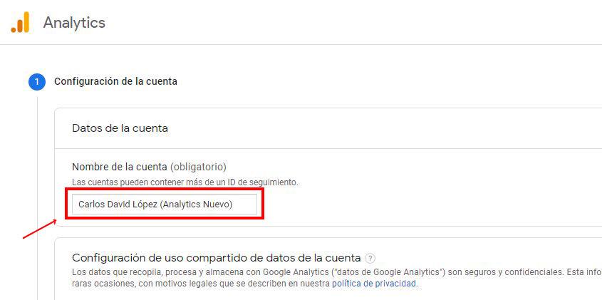 Crear cuenta de Google Analytics