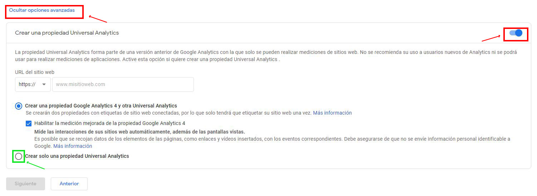 Opcional crear propiedad de Universal Analytics