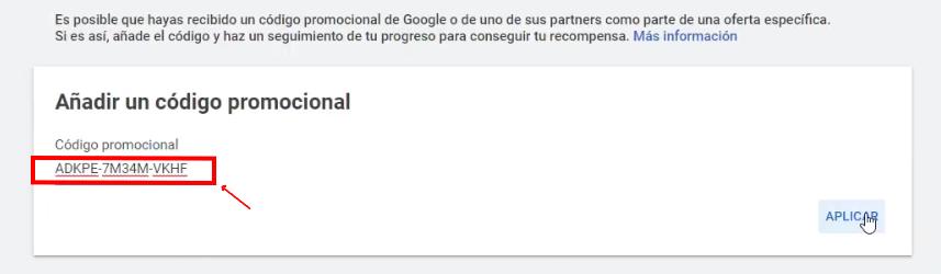Aplicar código promocional Google Ads