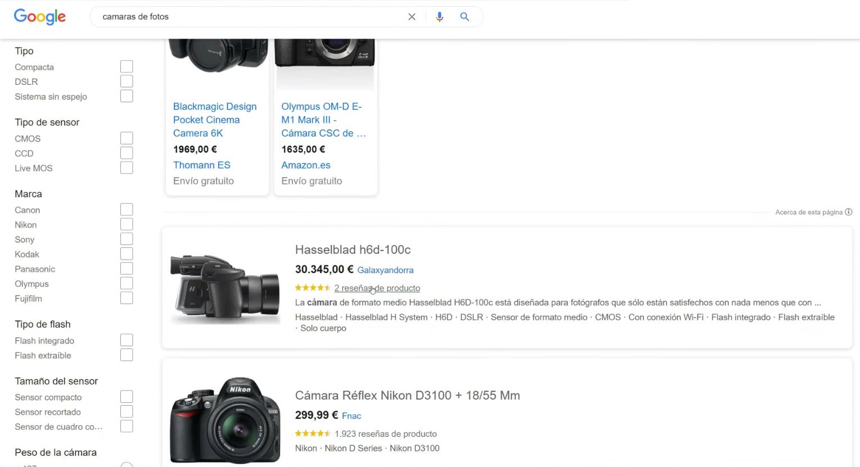 Secciones de Google Shopping