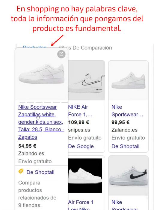 Google Shopping no requiere de palabras claves