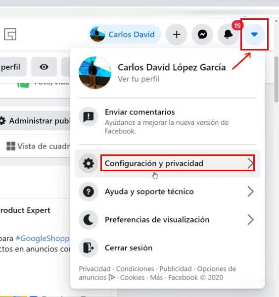 Verificación en dos pasos - Configuración de Facebook.