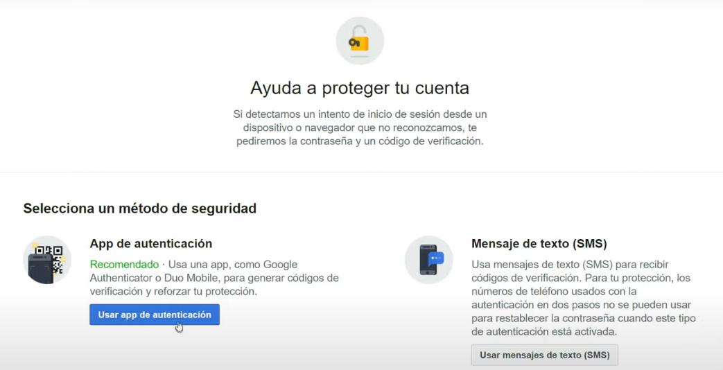 Autenticación en dos pasos de Facebook - Seleccionar método de seguridad.