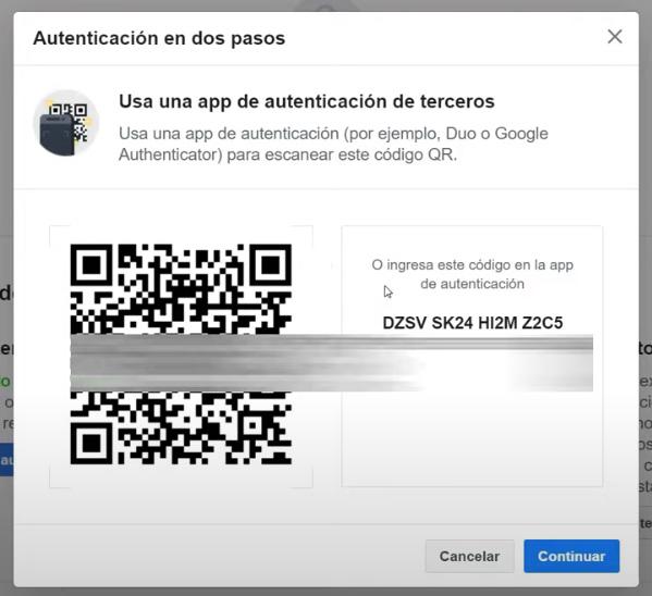 Autenticación en dos pasos de Facebook -Escaneo de código con la app.