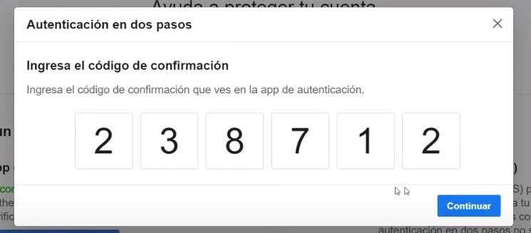 Autenticación en dos pasos de Facebook -Código de seguridad.