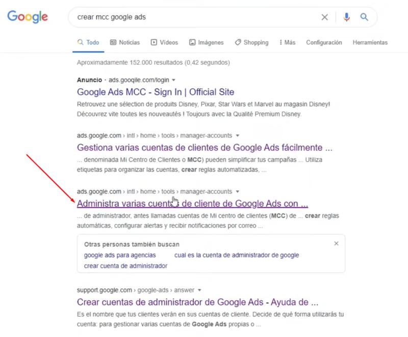 Acceder a creación MCC Google Ads