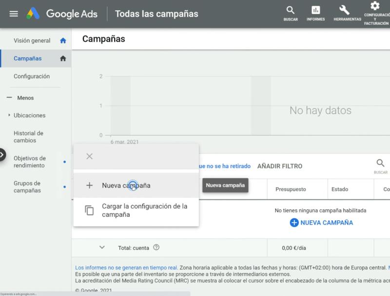 Crear nueva campaña Google
