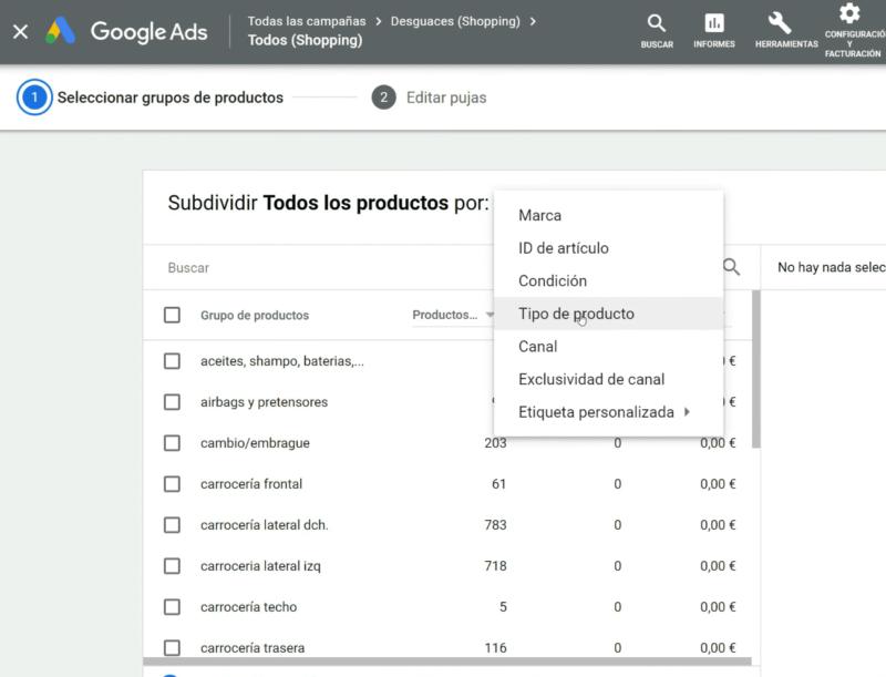 Subdividir productos Google Shopping
