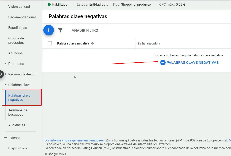 Palabras clave negativas Google Shopping