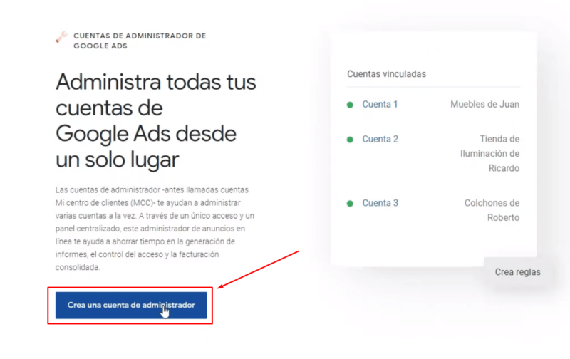 Crear cuenta administrador Google Ads