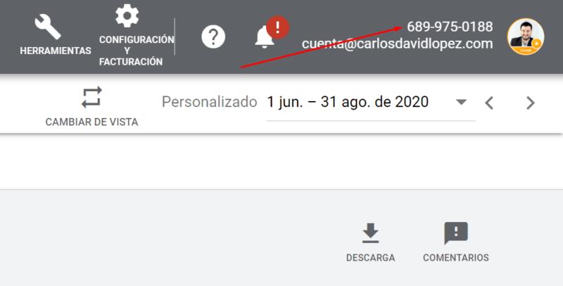 Obtener ID cuenta Google Ads