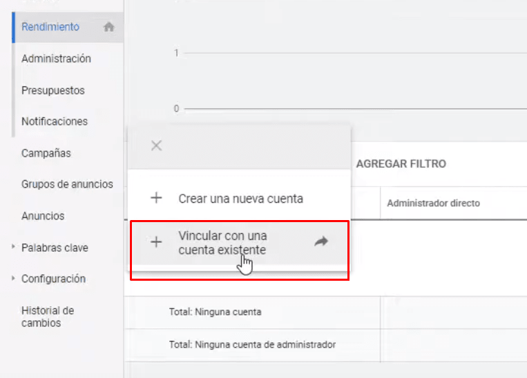 Vincular una cuenta existente al MCC Google Ads