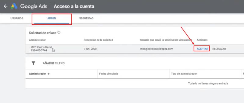 Aceptar vinculación cuenta Google Ads con MCC