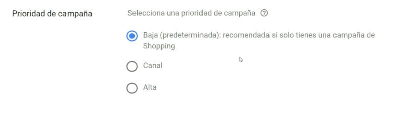 Prioridad de campaña Google Shopping