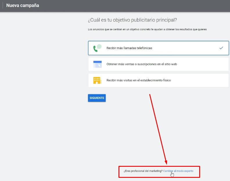 Omitir proceso guiado Google Ads
