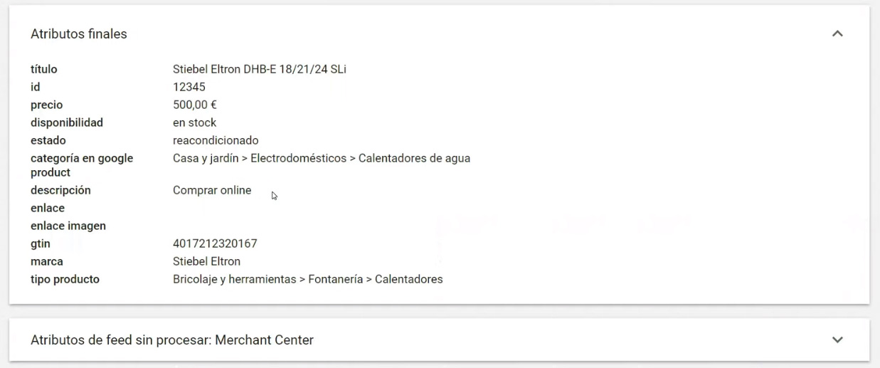 Descripciones google shopping - atributos merchant center.