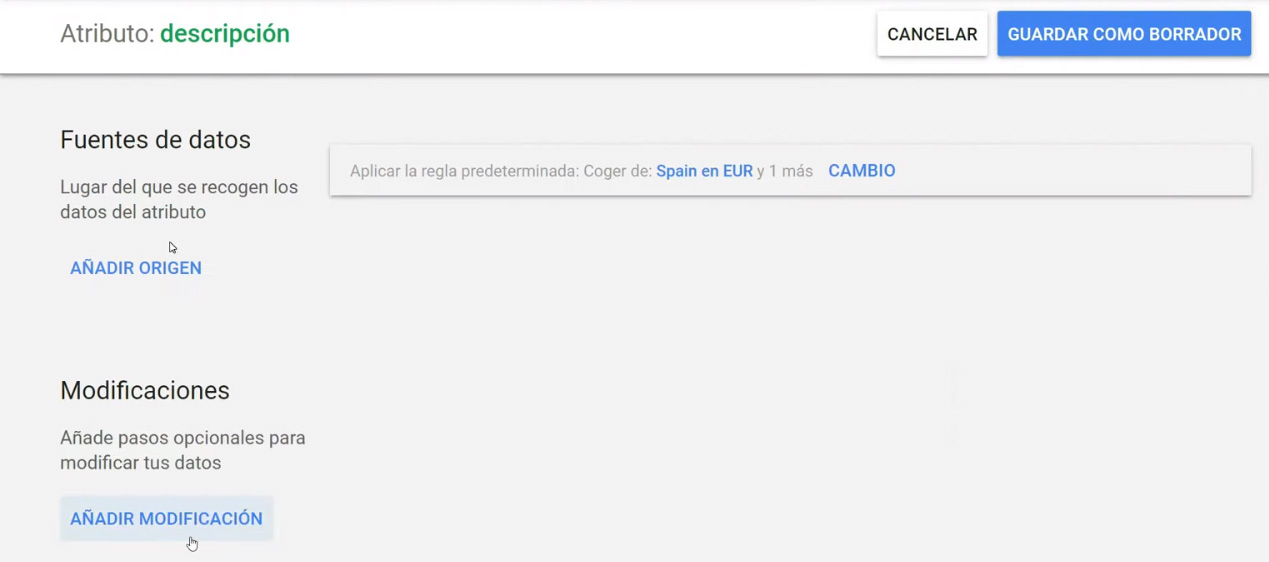 Descripciones google shopping - Añadir modificaciones.